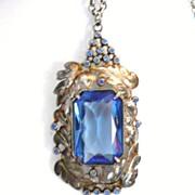REDUCED Large Art Deco Pendant Necklace Blue Glass