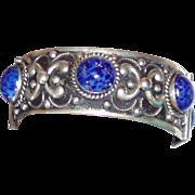 REDUCED Wonderful Hinged Bangle Blue Glass Lapis Stones