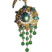 SALE Vintage Pendant Necklace Green and Pearls Western Germany