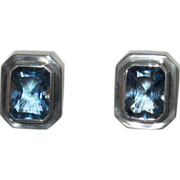 REDUCED Bold Blue Topaz Sterling Clip Earrings