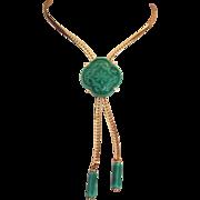 Vintage Bolo Necklace Green Ceramic