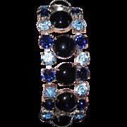 SALE Vintage Glass Blue Cabochons Rhinestones Bracelet