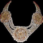 SALE PENDING 1930's Stupendous Filigree Necklace