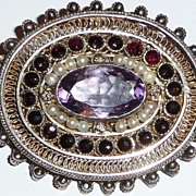 REDUCED Antique Brooch Pendant Twisted Gilt Silver Wire Work