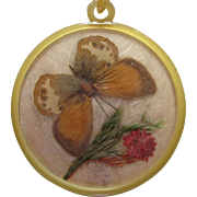 SALE Large Celluloid Butterfly Necklace