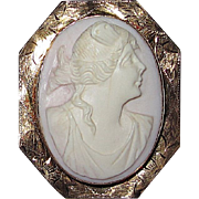 REDUCED Gorgeous Conch Shell Pink Cameo in Gold Frame