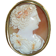 REDUCED Gorgeous Woman Fine Victorian Gold Cameo Brooch
