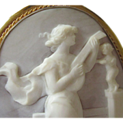 REDUCED Antique Shell Cameo Woman Playing Lute