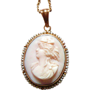 REDUCED Beautiful Pink Shell Cameo with Pearls
