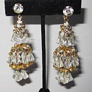 SALE Wonderful Hattie Carnegie Gold Tone Chandelier Earrings Wow