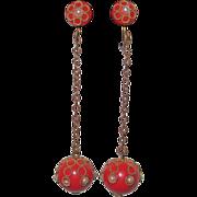 Art Deco Celluloid Red Drop Earrings