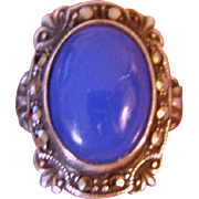 SALE Beautiful Vintage Blue Chalcedony Marcasite Ring