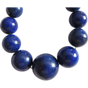 REDUCED Vintage Estate Genuine Lapis Graduated Necklace  14K Clasp