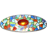 Charles Horner Enamel on Sterling Stained Glass Design Pin