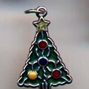 SALE Enamel Sterling Vintage Christmas Tree Charm