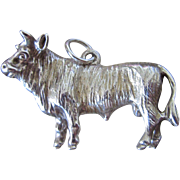 SALE Large Sterling Charm of a Bull