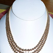 REDUCED Best Vintage Gold Fill Triple Strand Beads Choker