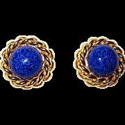 Vintage Ciner Faux Lapis Clip Earrings