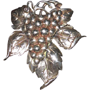 REDUCED Cini Sterling Large Grapes Leaf Brooch And Earrings