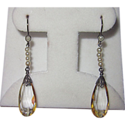 SALE Vintage Silver Citrine Pearls Drop Earrings