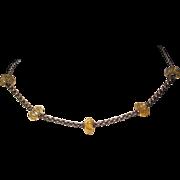 SALE Vintage Sterling Carved Citrine Necklace Hallmarked