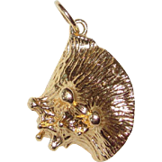 SALE 14K Solid Charm or Pendant Sea Shell