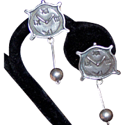 REDUCED Ella Cone Signed Sterling Clock Clip Earrings