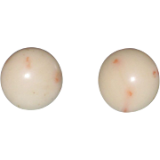 SALE Vintage Mediterranean Angel Skin Coral Earrings 14K