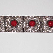 REDUCED Filigree Coral Silver Bracelet Italy