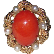 REDUCED Large Coral 14K Ring Cultured Pearls