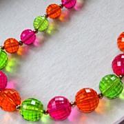 SALE Vintage Coro Hot Pink Green Orange Lucite Necklace Set