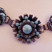 Vintage Faux Turquoise Four Piece Set Necklace Bracelet Earrings Ring