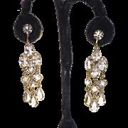 SALE Vintage Crystal Chandelier Clip Earrings Gold Tone