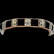 Art Deco Czechoslovakia Black Glass Bracelet