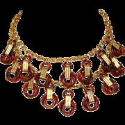 Vintage Czech Brass Fringe Necklace