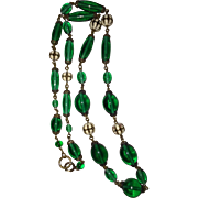 REDUCED Art Deco Czech Green Glass Beads