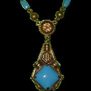 SALE Vintage Czech Turquoise Glass Pendant Necklace
