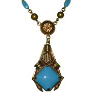 REDUCED Vintage Czech Turquoise Glass Pendant Necklace