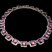 REDUCED Czechoslovakia Crystal Choker Open Back Purple Squares