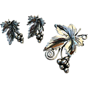 SALE Damaso Gallegos Taxco Sterling Leaf Brooch plus Earrings