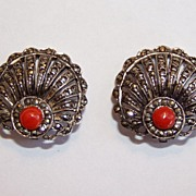 REDUCED Art Deco Coral and Marcasite Seashell Motif Earrings