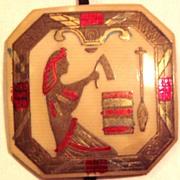 REDUCED Art Deco Egyptian Motif Celluloid Pendant