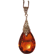 REDUCED Art Deco Glass Amber Crystal Pendant Filigree