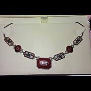 SALE PENDING Art Deco Enamel and Glass Necklace