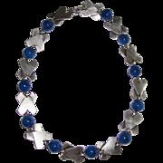 SALE Art Deco Geometric Lapis Glass Necklace