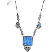 REDUCED Art Deco Lovely Sterling Marcasites Necklace Blue Stone