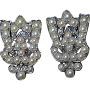 REDUCED 10K White Gold Art Deco Split Pearls Dress Clips Pair