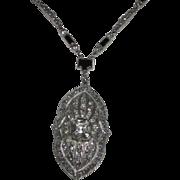 REDUCED Art Deco Rhinestone Pendant Necklace