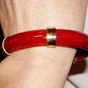 REDUCED Art Deco Red Bakelite Bangle Bracelet with Brass Accents