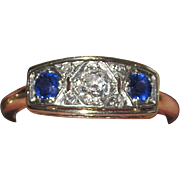 REDUCED Art Deco 14K Diamond Sapphire Ring Estate